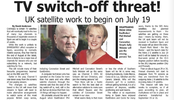 Recent Newspaper story about the Future of UK TV in Spain